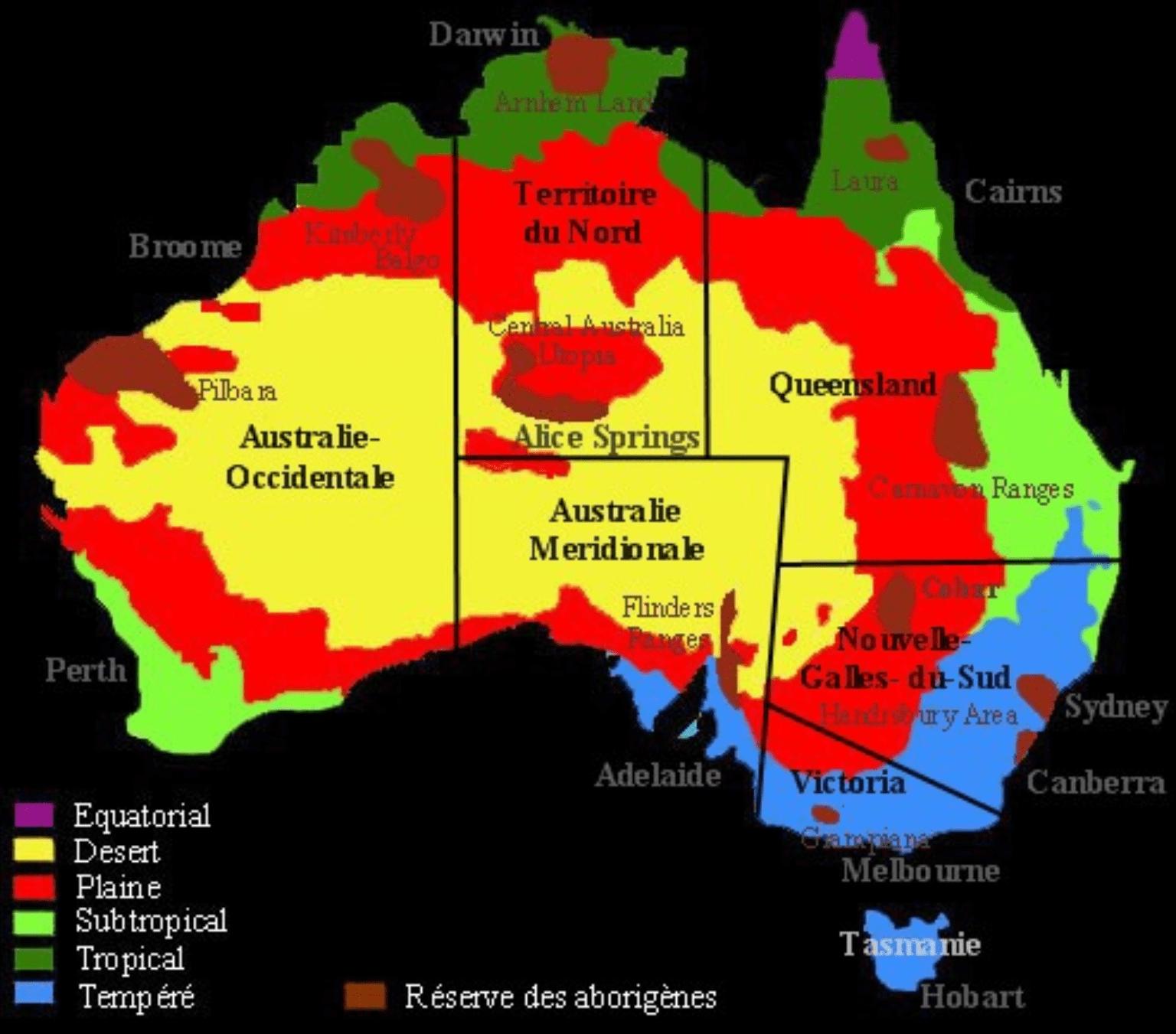 Carte des réserves aborigènes d'Australie