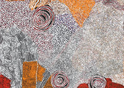 "Bill Whiskey Tjapaltjarri ""rockholes and country near the olgas 2008 cat10-08462- 154x153 cm"