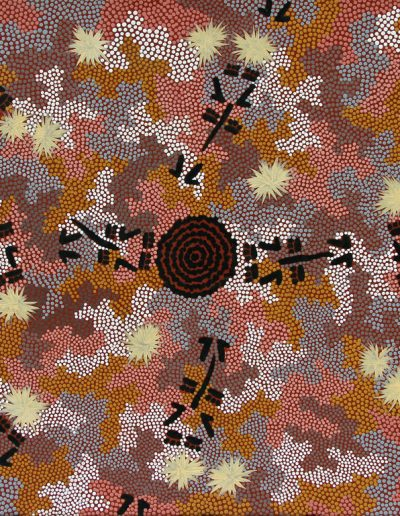 "Clifford Possum Tjapaltjarri ""Kangaroo Dreaming"" 1989- 130x83"