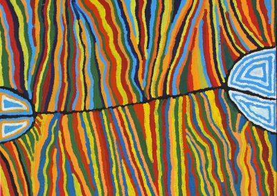 """Judy Watson Napangardi 84x109cm """"Jukurrpa"""""""