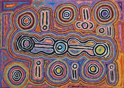 "Bessie Nakamarra Sims 2007 ""Bush Carrot Dreaming"" 76x107cm"