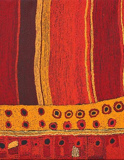 """Maringka Baker """"Papaku Tjukurpa"""" année 2009 - 93x149cm -Kampi Arts VENDU"""