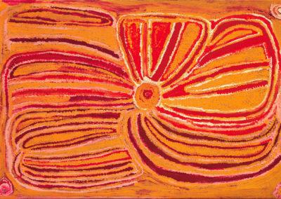 """Eubena Nampitjin """"Ikara Rock Hole"""" 80x120cm 1997 Warlayiriti Artists VENDU"""