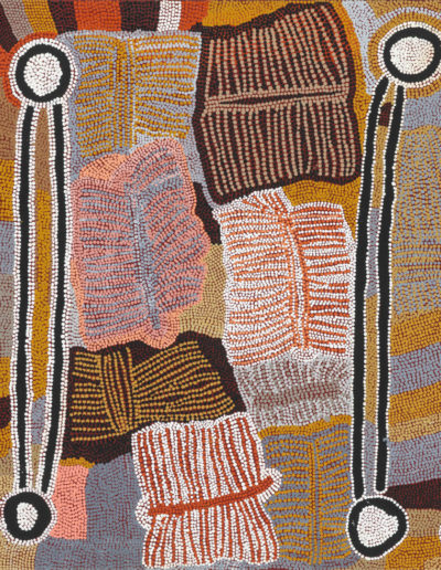 "Maggie Napangardi Watson ""Digging Sticks"" année 1990-76x91cm Warlukurlangu Artists"