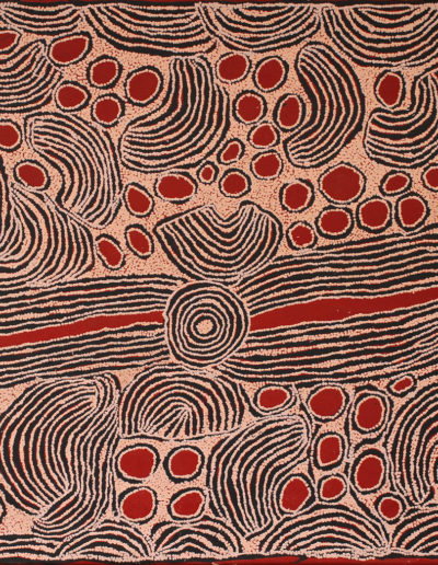 "Ningura Napurrula (c.1938-2013) ""Site Of Wirrulnga"" année 2005 -Sotheby's- 122x152cm (Papunya Tula Artists) VENDU"