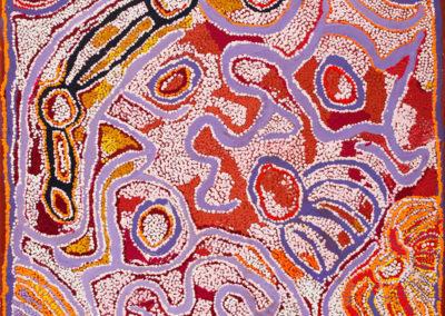 """Pulpurru Davies (b.-1943) """"Nyukur"""" année 2006 76x76cm"""