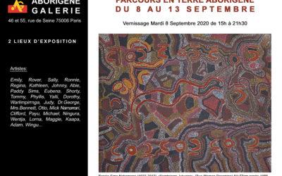 Parcours en Terre Aborigène du 8 au 13 Septembre 2020 (2 lieux d'exposition) 46 et 55 rue de Seine (face à la galerie)